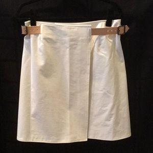 Burberry cream cotton wrap skirt w/ leather trim